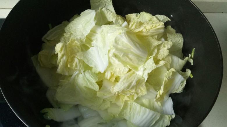 大白菜炖粉条,加入白菜叶翻炒