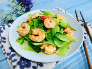油菜炒虾仁
