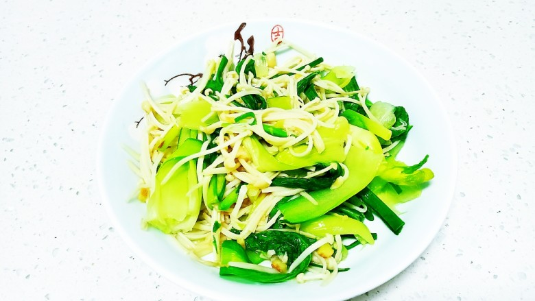 上海青炒金針菇