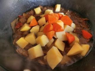红焖羊肉土豆,最后加入土豆和胡萝卜,煮至土豆胡萝卜成熟。
