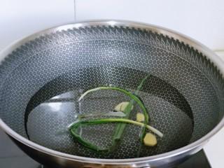 白灼大虾,锅中加入纯净水,放入姜葱。