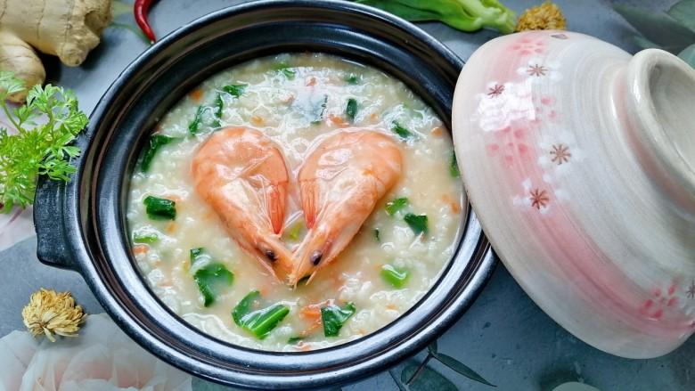鲜虾砂锅粥,拍上成品图,一道美味又营养的鲜虾砂锅粥就完成了。