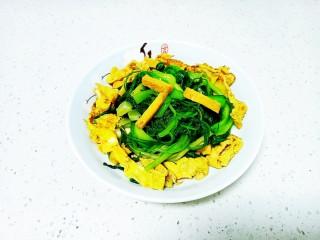 豆腐炒油麦菜、油菜、鸡蛋