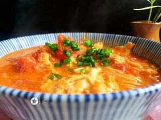 鸡蛋西红柿打卤面,浇入刚才的西红柿鸡蛋汤,上面撒入葱花