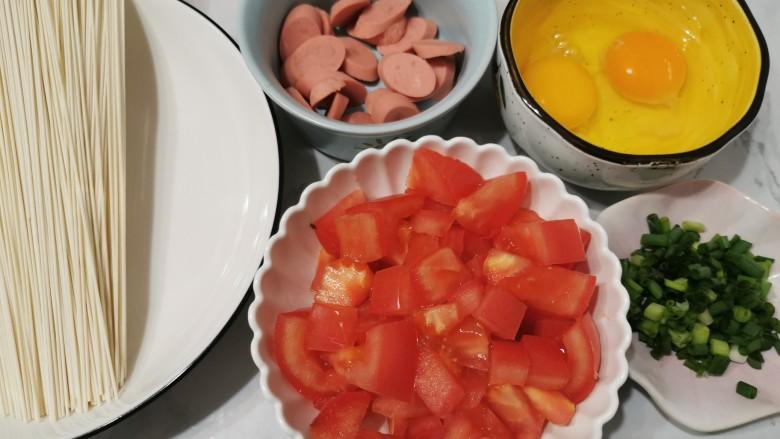 鸡蛋西红柿打卤面,食材准备