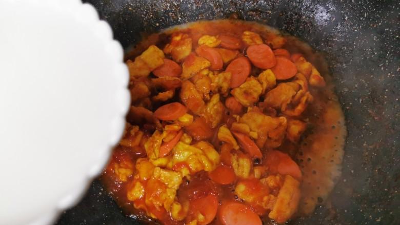 鸡蛋西红柿打卤面,加小碗清水