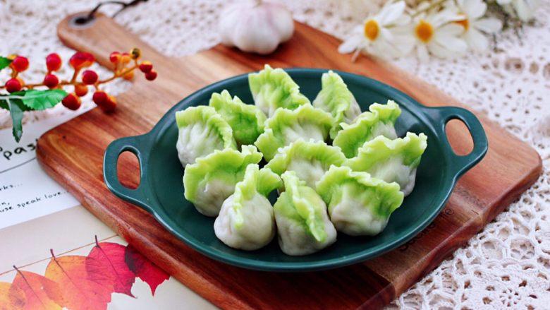 槐花扇贝肉丁翡翠饺子