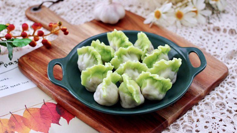 槐花扇贝肉丁翡翠饺子,成品