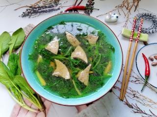 猪肝菠菜汤,拍上成品图,一道美味又营养的猪肝菠菜汤就完成了。