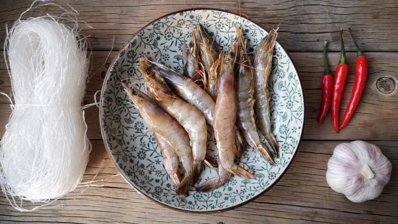 蒜蓉蒸大虾,准备食材。