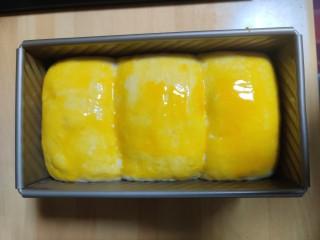 超级柔软的北海道土司(中种法),刷上蛋液。继续发酵