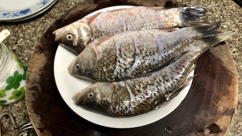 剁椒鲫鱼➕可爱深红爱浅红,鱼身表面抹少许食盐,腌制十分钟