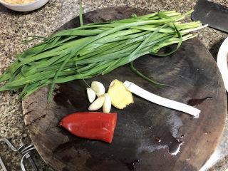 韭菜炒豆腐➕千里莺啼绿映红,韭菜择好洗净,🧄剥皮,姜葱洗净,红椒去籽洗净