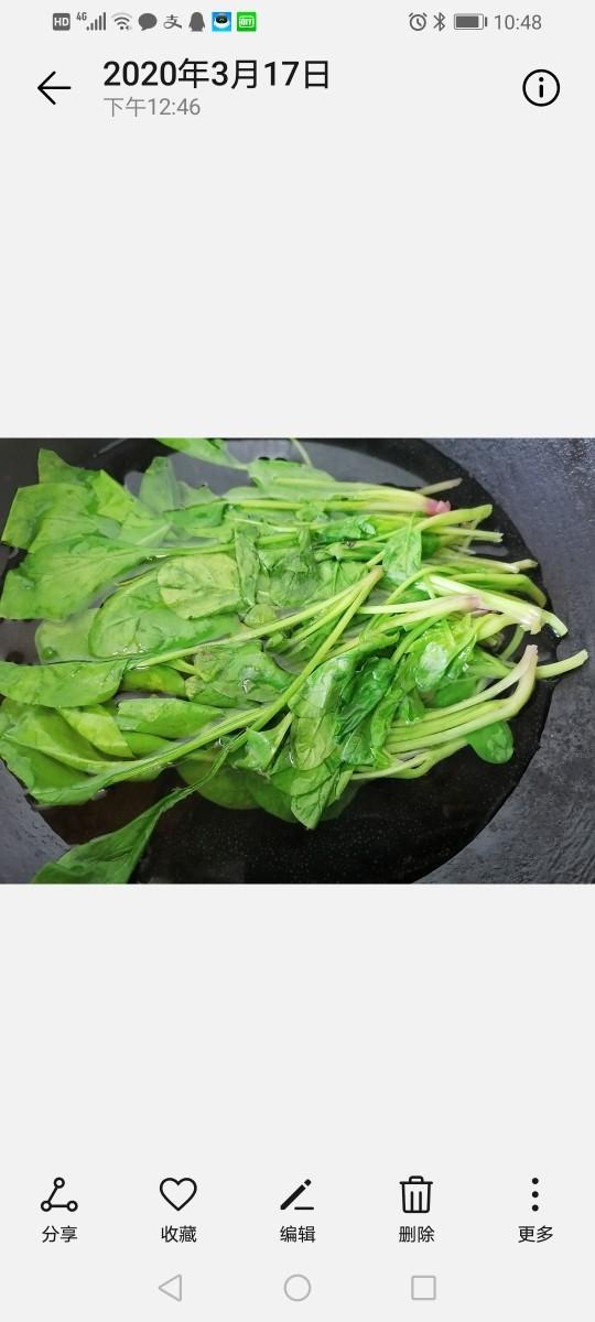 凉拌菠菜粉丝,将菠菜放入锅内焯水