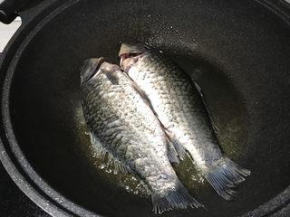 奶白鲫鱼豆腐汤,鲫鱼用厨房纸擦干水分,下锅中小火两面煎;