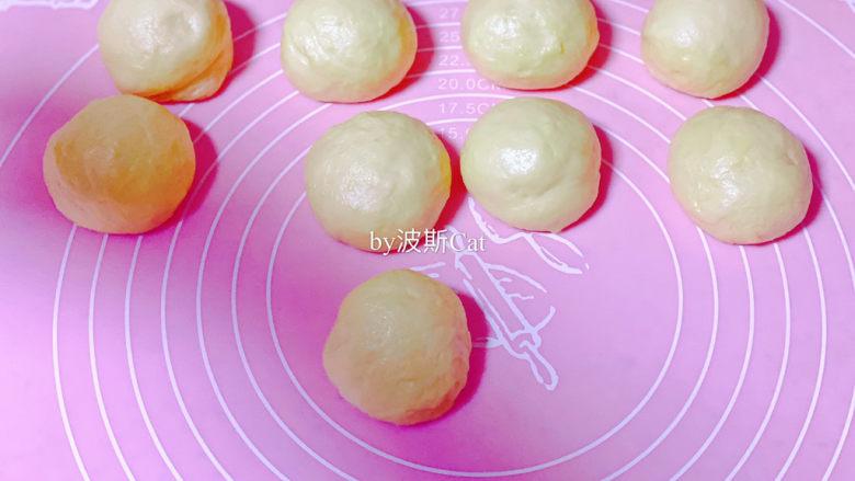 法国牛奶面包,一次发酵后的面团分割成8个或者9个小面团,滚圆,盖保鲜纸二次发酵醒面15分钟