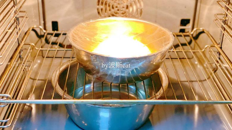 法国牛奶面包,烤箱放一盘热水,温度调至40度进行发酵一小时。