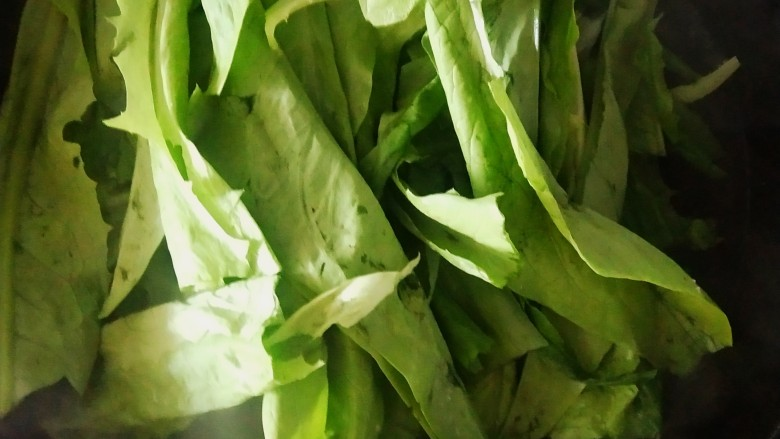 麻酱油麦菜,放入菠菜叶。