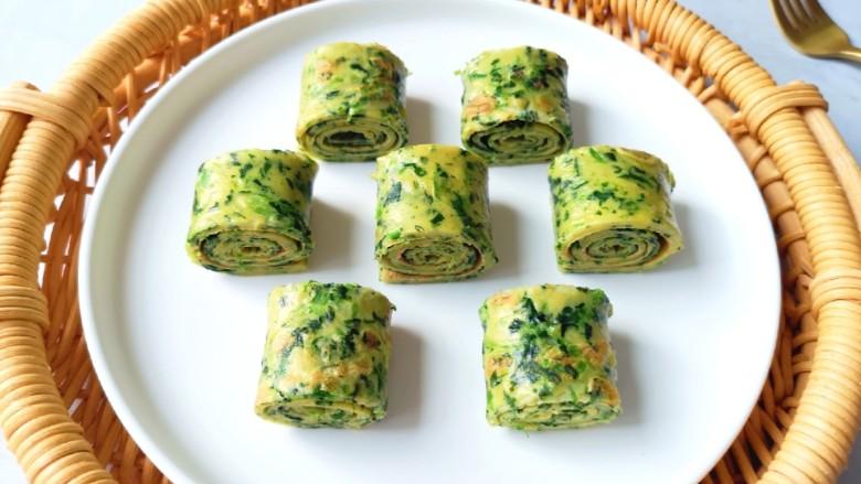 菠菜蛋卷,近图看看,营养又好吃。