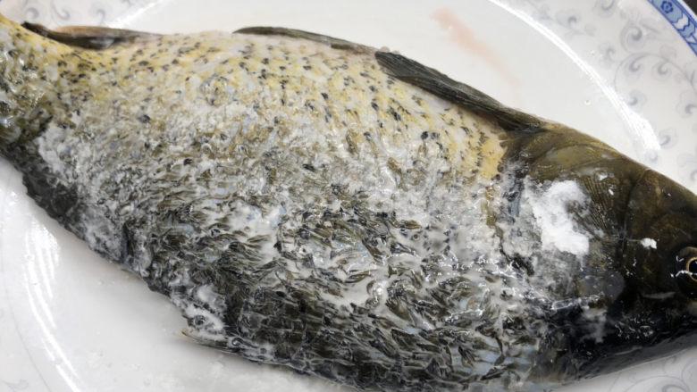 酱焖鲫鱼,鲫鱼收拾干净后拍少许淀粉,防止粘掉皮