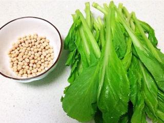 清炒芥菜,准备食材:芥菜,豌豆