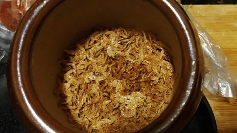 香辣梅干菜  超级下饭,虾皮舂成粉