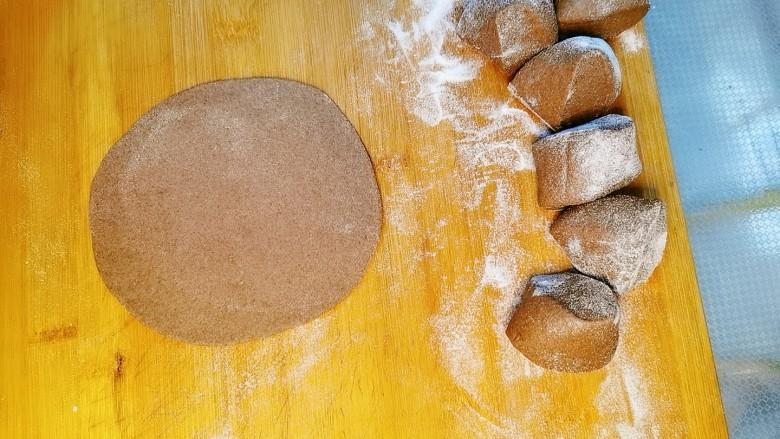 黑麦菜包子,黑麦面粉,加蜂蜜,酵母,和成面团。发酵两倍大,分成小剂子,擀成薄一些的圆饼。