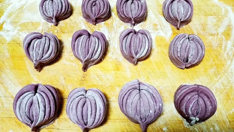 心形紫薯馒头,全部做好