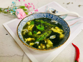 芦笋紫菜汤,成品图