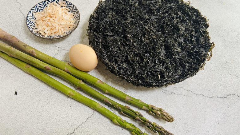 芦笋紫菜汤,准备好食材