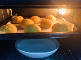 菠萝面包,放油纸上,放烤箱上层发酵,底层加一盘清水;