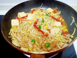 猪肉豆腐黄豆芽焖粉条,放入盐和鸡精
