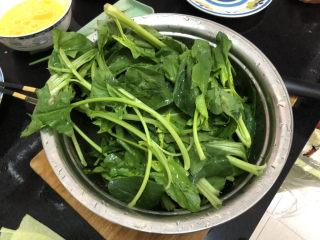 菠菜木耳炒鸡蛋➕绿槐阴里黄莺语,菠菜择好洗净控水备用
