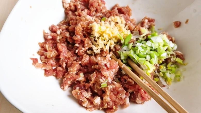 韭菜猪肉馅水饺,加入切好的葱姜末。