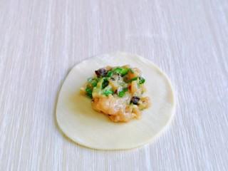 韭菜豬肉餡水餃,取一張餃子皮,放入餡料,將餃子皮對折。