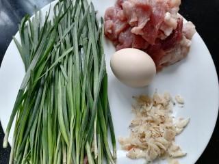 韭菜豬肉餡水餃,準備好所需材料
