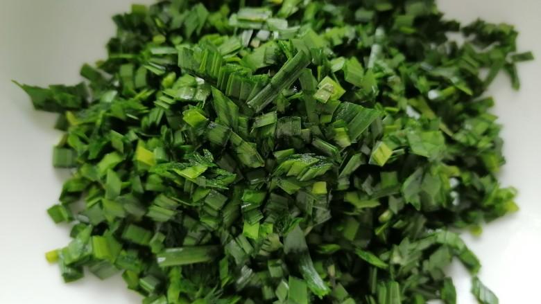 韭菜猪肉馅水饺,将韭菜切成小段