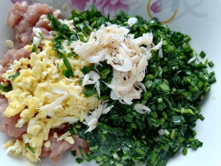 韭菜豬肉餡水餃,最后放入蝦皮
