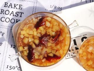蘋果銀耳紅棗湯,完成啦,冰鎮起來也好吃噢