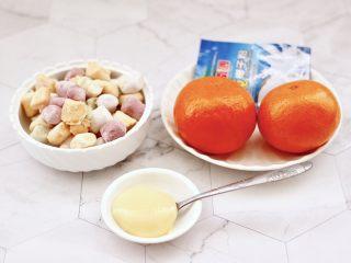 彩色圓子橘子椰奶昔,首先備齊所有的食材,小圓子我是提前做好的。