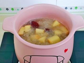 蘋果銀耳紅棗湯,加入枸杞再熬5-8分鐘即可關火,喜歡蘋果軟一點口感的,可以適當加長時間。
