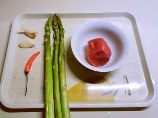 蘆筍炒牛肉,食材準備好
