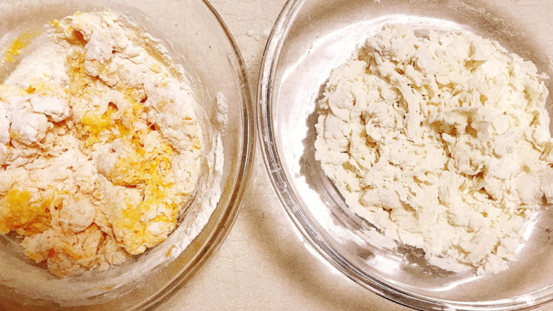 贝壳馒头(南瓜),搅拌成絮状