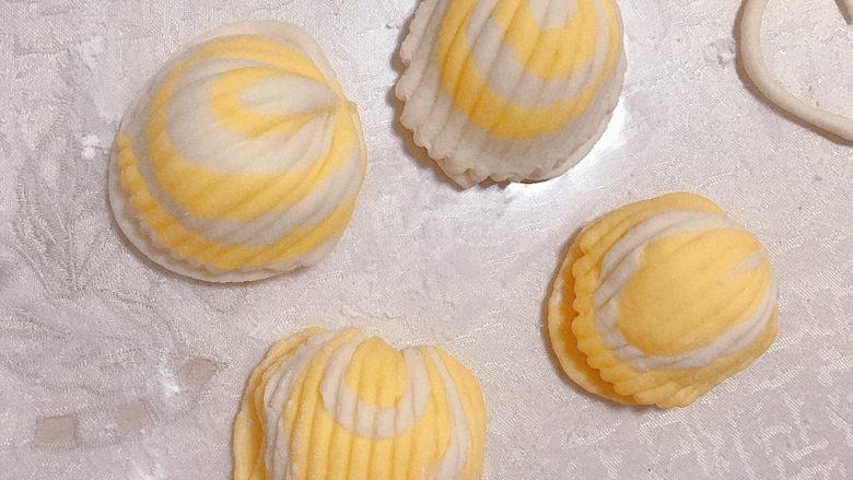 贝壳馒头(南瓜),做好了,放入蒸锅进行二次发酵。