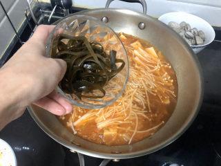 花蛤豆腐汤➕韩式花蛤豆腐汤,加入海带丝,