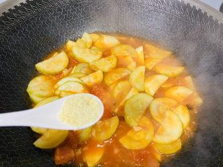 番茄炒西葫蘆,雞精調味