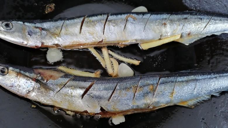 干煎秋刀鱼,鱼放入锅内煎