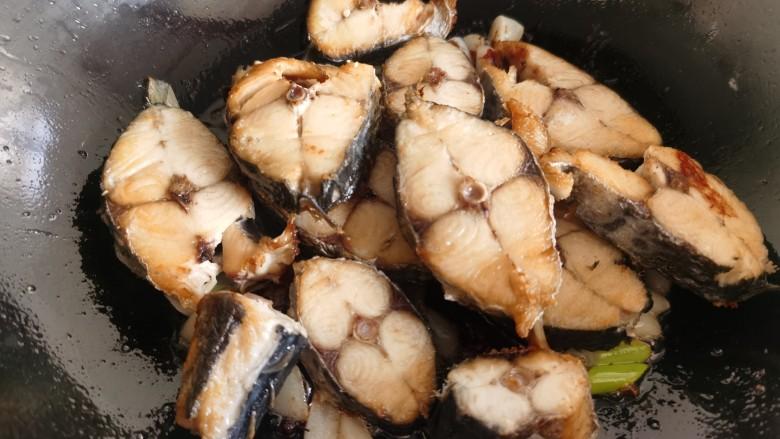 酱焖鲅鱼,放入煎好的鲅鱼块。