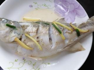 蔥油鱸魚,蒸一會將魚取出,將里面的魚湯倒掉這樣蒸出來的魚沒那么腥
