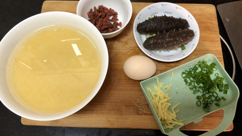 小米海参粥➕稻花麦浪入画来,全部食材准备好
